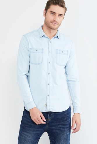 MAX Lightwashed Full Sleeves Slim Fit Casual Shirt