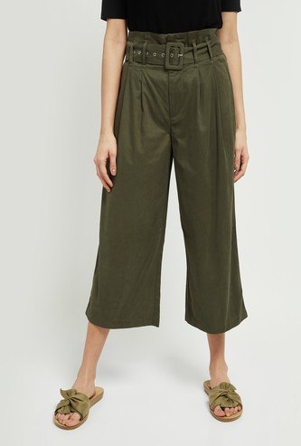 MAX Solid Pleated Culottes with Fabric Belt