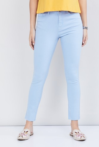 MAX Solid Ankle-Length Jeans