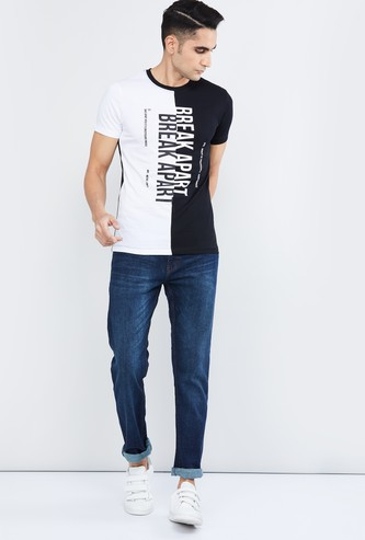 MAX Typographic Print Colourblock Crew-Neck T-shirt