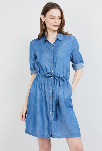 MAX Roll-Up Sleeves Solid Shirt Dress