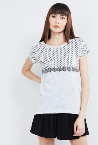 MAX Printed Cap Sleeves Top