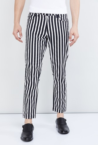 MAX Striped Ankle-Length Trousers