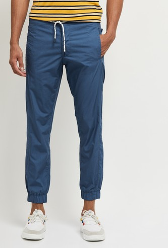 MAX Solid Joggers with Drawstring Waist