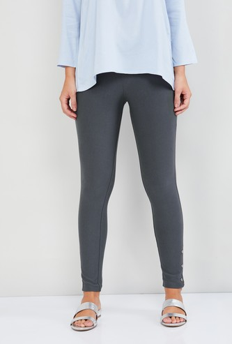 MAX Solid Button Accent Treggings