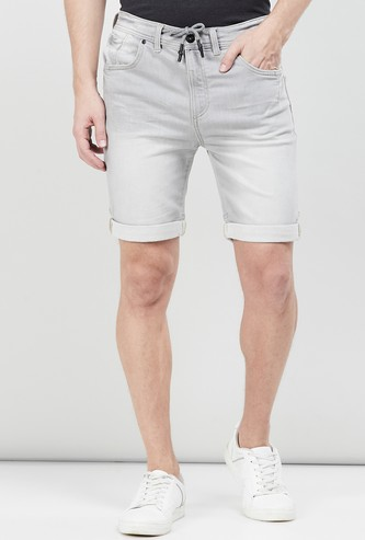 MAX Stonewashed Denim Shorts with Drawstring Waist