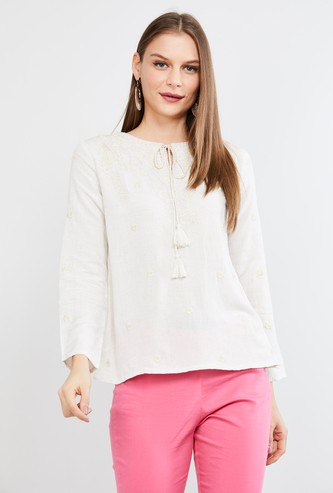 MAX Floral Embroidery Eco Liva Top with Tasselled Tie-Up