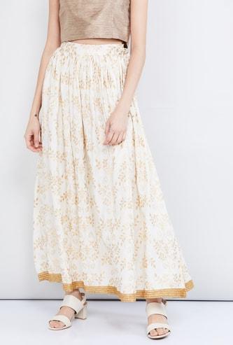 MAX Floral Print Maxi A-line Skirt
