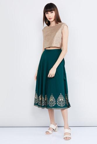 MAX Printed A-line Midi Skirt