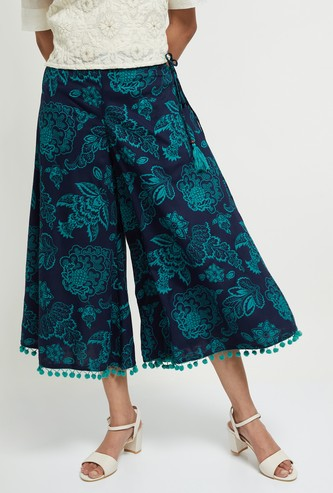 MAX Printed Culottes with Pompoms