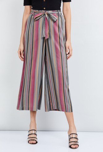 MAX Striped Culottes with Sash Tie-Up
