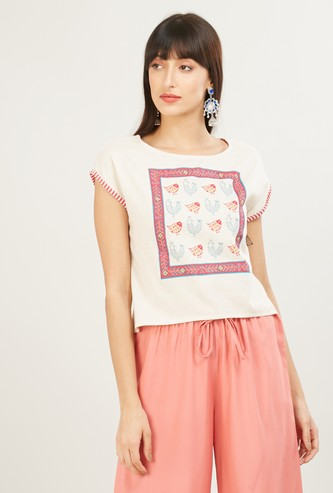 MAX Printed Round-Neck Top with Cap Sleeves