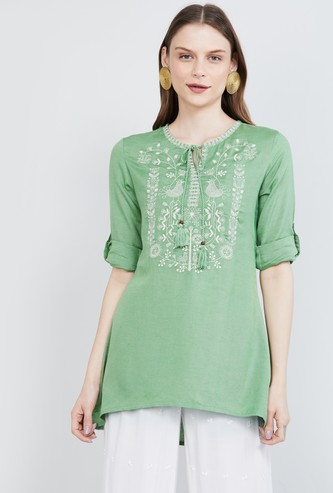 MAX Roll-Up Sleeves Embroidered Tunic