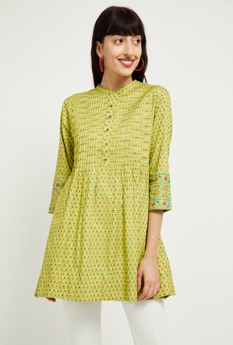 MAX Floral Print Flared Tunic with Pintucks