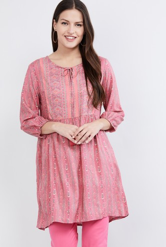 MAX Printed Tie-Up Neck Tunic