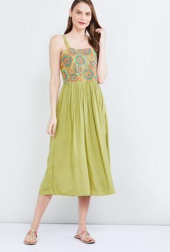 MAX Smocked Sleeveless A-line Midi Dress