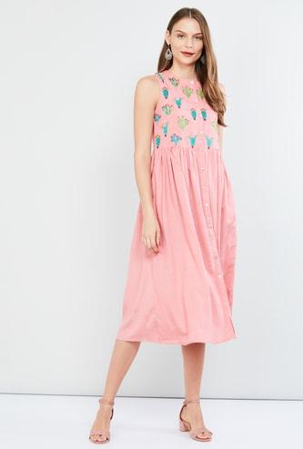 MAX Embroidered Yoke Midi Dress