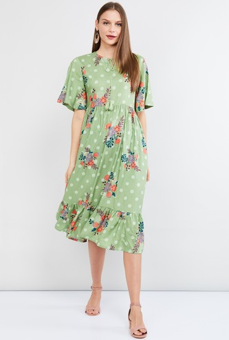 MAX Floral Print Flutter Sleeves Midi Dress