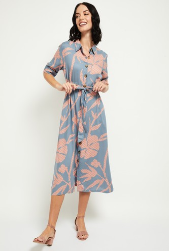 MAX Floral Print Shirt Dress with Sash Tie-Up