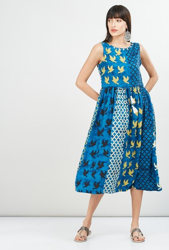 MAX Bird Print Sleeveless Midi Dress