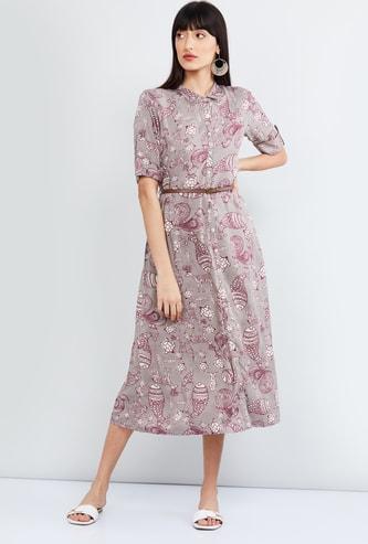 MAX Roll-Up Sleeves Printed Shirt Dress
