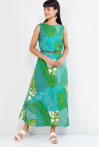 MAX Printed Maxi Dress with Belt