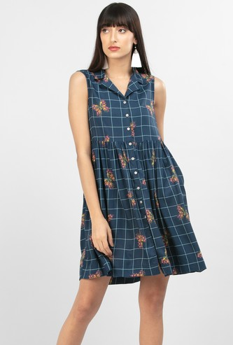 MAX Floral Print Checked Sleeveless Shift Dress