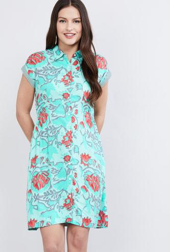 MAX Floral Print Shirt Dress
