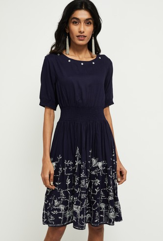 MAX Printed Fit and Flare Dress with Mirror Work