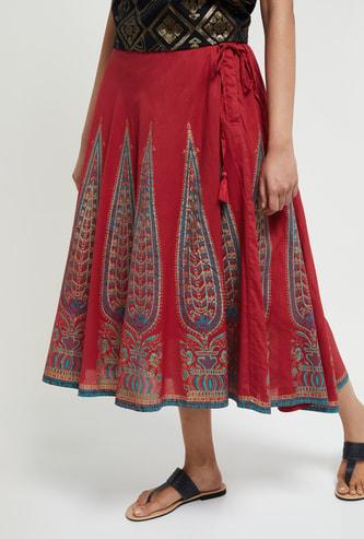 MAX Printed Midi Skirt with Tasselled Tie-Up