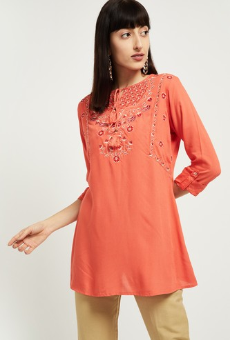 MAX Floral Embroidery Tunic with Roll-Up Sleeves