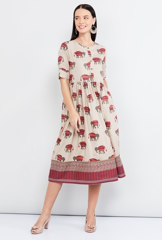 MAX Roll-Up Sleeves Printed A-line Midi Dress