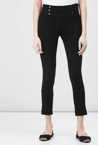 MAX Solid Buttoned Treggings