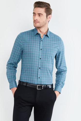 MAX Checked Full Sleeves Slim Fit Formal Shirt