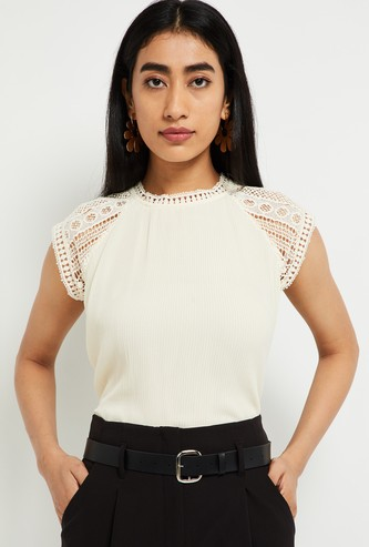 MAX Striped Round Neck Lace Top
