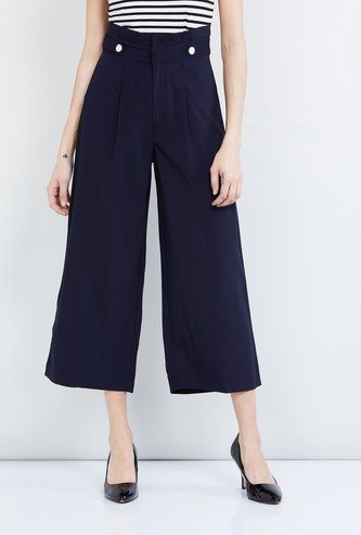 MAX Solid Culottes with Button Detail