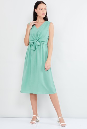 MAX Solid A-line Dress with Tie-Up