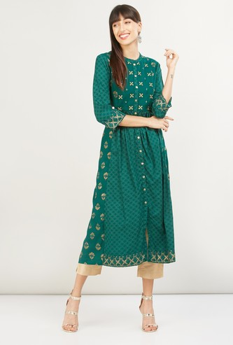 MAX Embroidered Three-quarter Sleeves A-line Kurta
