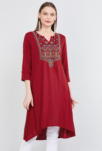 MAX Embroidered Three-Fourth Sleeves Kurta