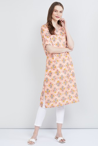 MAX Printed Half Sleeves Straight Kurta