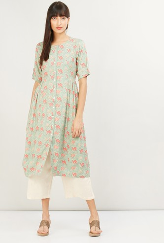 MAX Roll-Up Sleeves Printed Eco Liva A-line Kurta