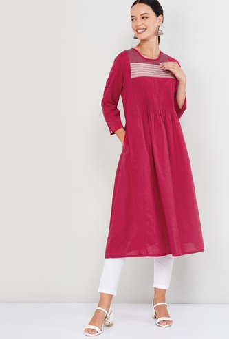 MAX Pintucked Round Neck A-line Kurta