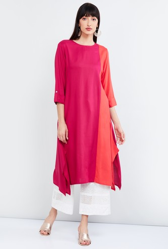 MAX Colourblocked Dipped Hem Eco Liva Kurta