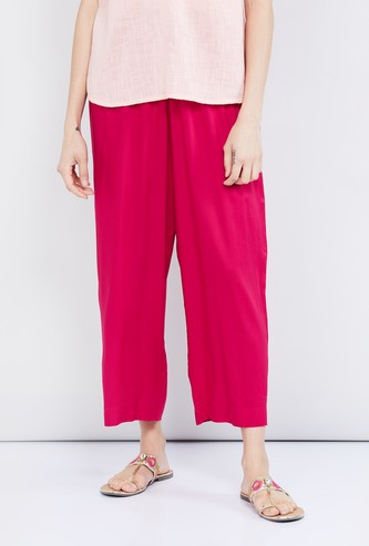 MAX Solid Cropped Eco Liva Palazzo Pants