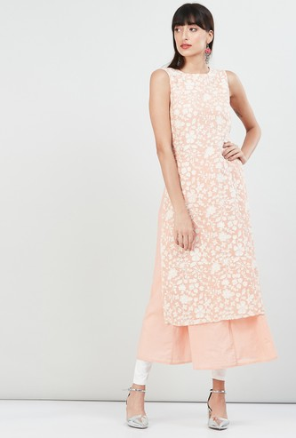 MAX Floral Lace Sleeveless Layered Kurta
