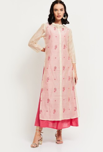MAX Embroidered A-line Layered Kurta