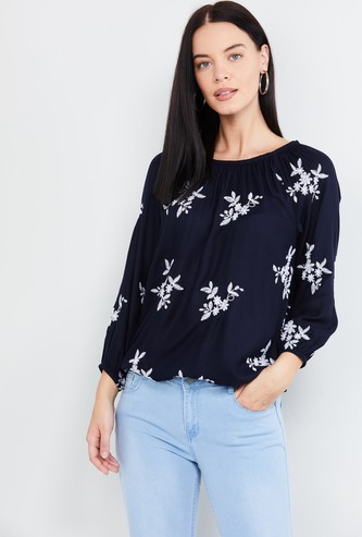 MAX Embroidered Top with Raglan Sleeves