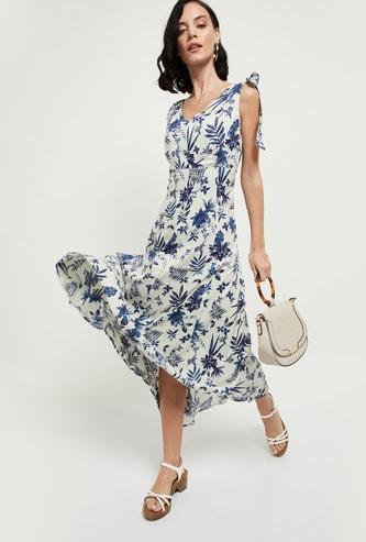 MAX Floral Print V-neck Midi Dress