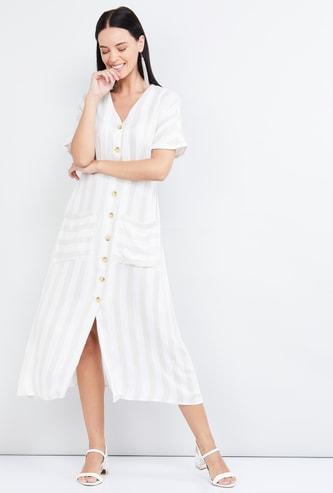 MAX Striped Button-Down A-line Maxi Dress