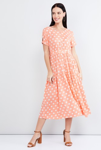 MAX Polka Dot Print Short Sleeves A-line Dress